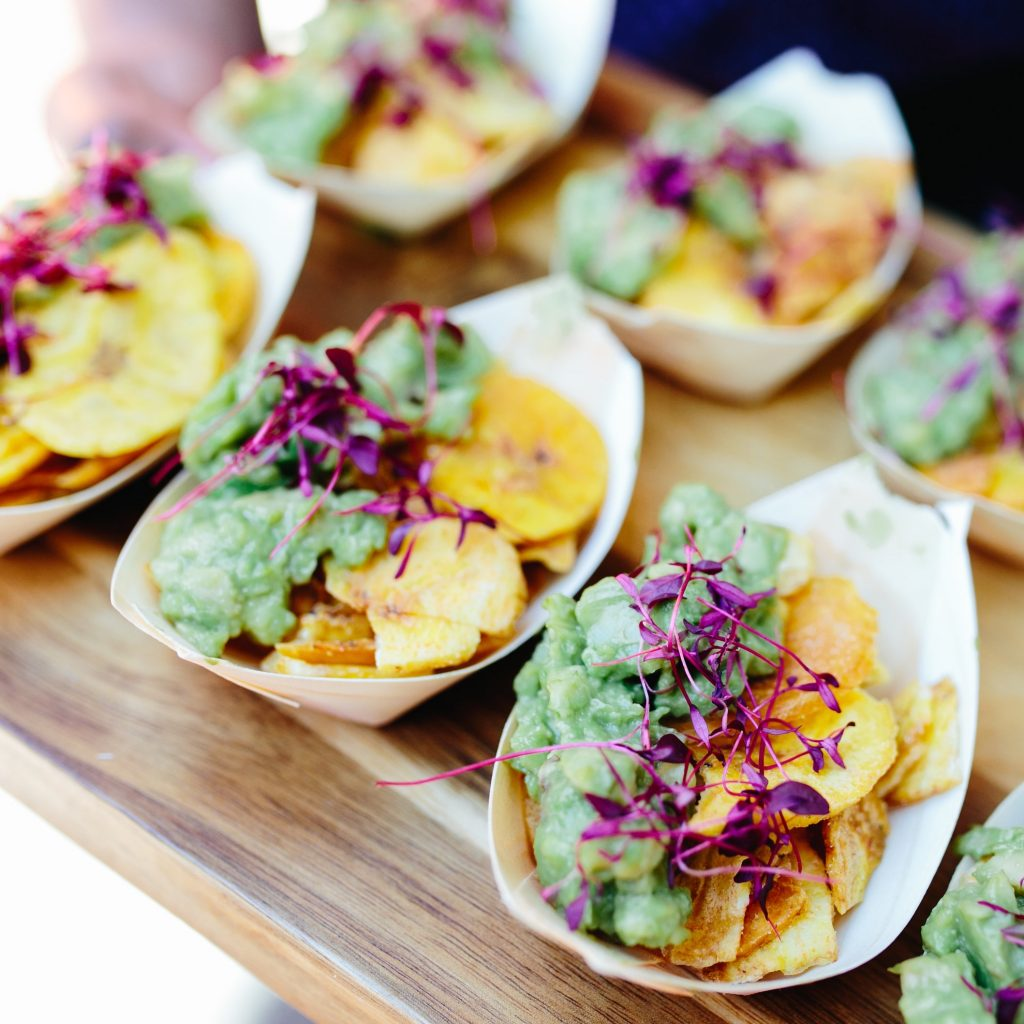 Plantain crisps, guacamole, canapes